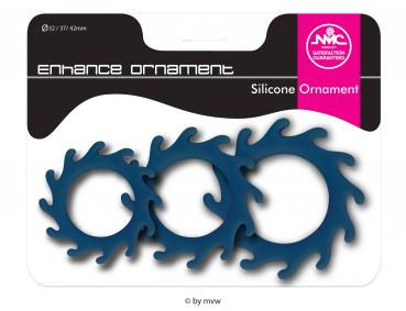 Enhance Ornament Silicone Cockring Set Blue NETTO