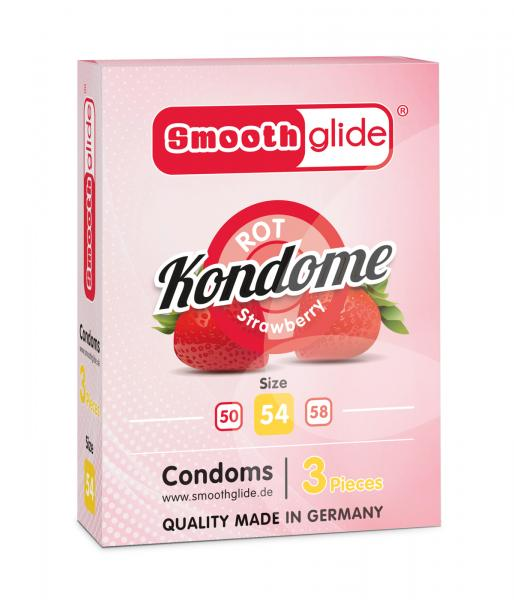 Smoothglide Kondome Rot/Strawberry 54mm 3er Packung NETTO